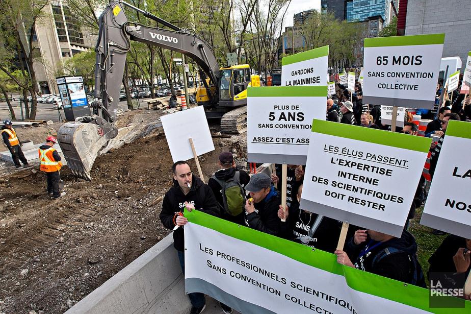 Une partie des 440grévistes a manifesté ce matin... (PHOTO PATRICK SANFAÇON, LA PRESSE)