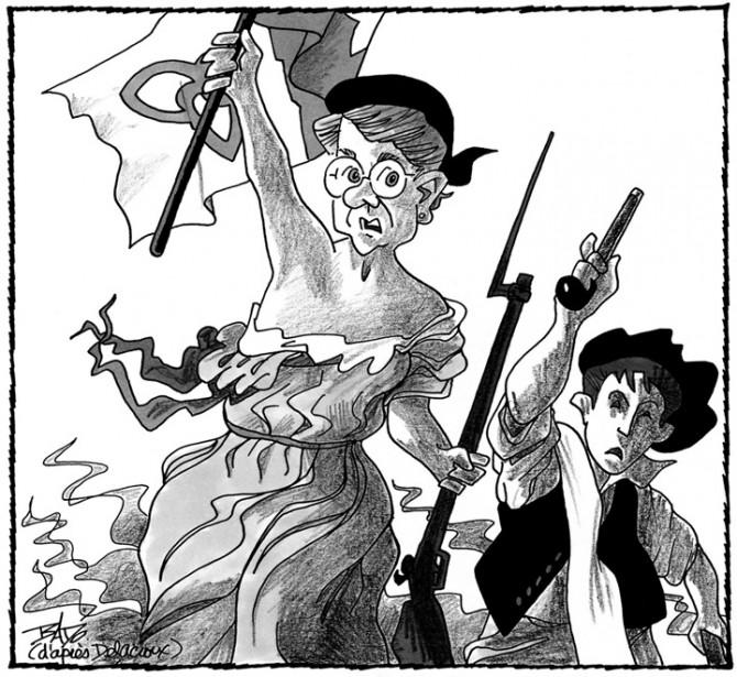 Caricature publiée lejuillet 1998. Gisèle Lalonde monte aux barricades pour défendre l'hôpital Montfort. (Bado, LeDroit)