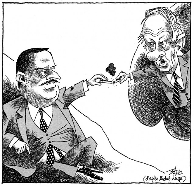 Caricature publiée le 29 novembre 1988. Jacques Parizeau succède à René Lévesque à la direction du Parti Québécois. (Bado, LeDroit)