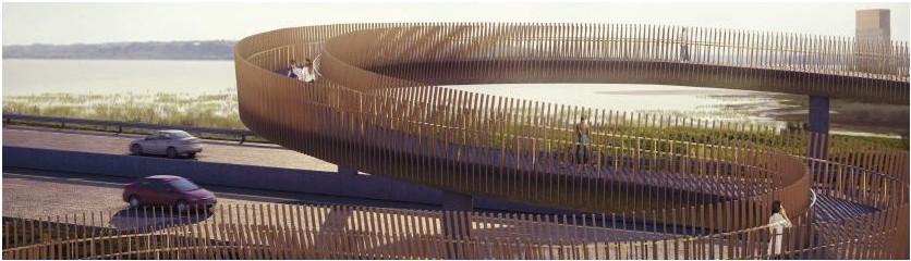Parmi les aménagements projetés se trouve cette imposante passerelle de bois. (Commission de la capitale nationale du Québec)