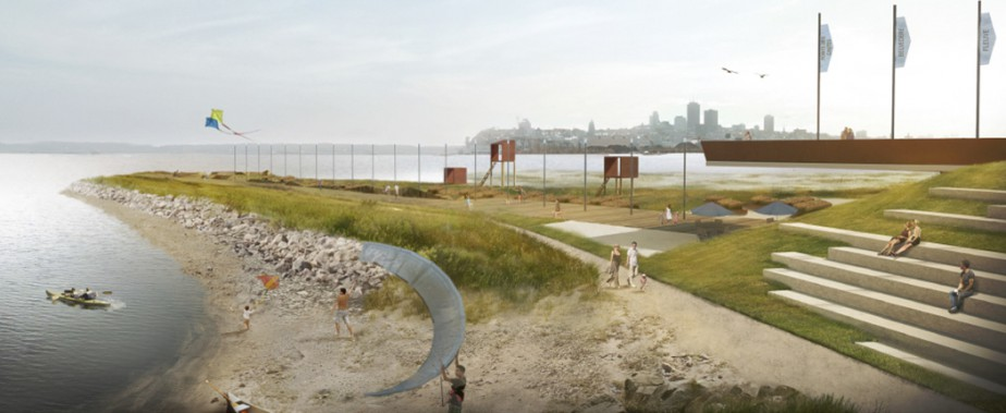 La pointe des Chutes, une péninsule de 150 mètres, sera entièrement aménagée de points d'observation et de mobilier urbain. (Commission de la capitale nationale du Québec)