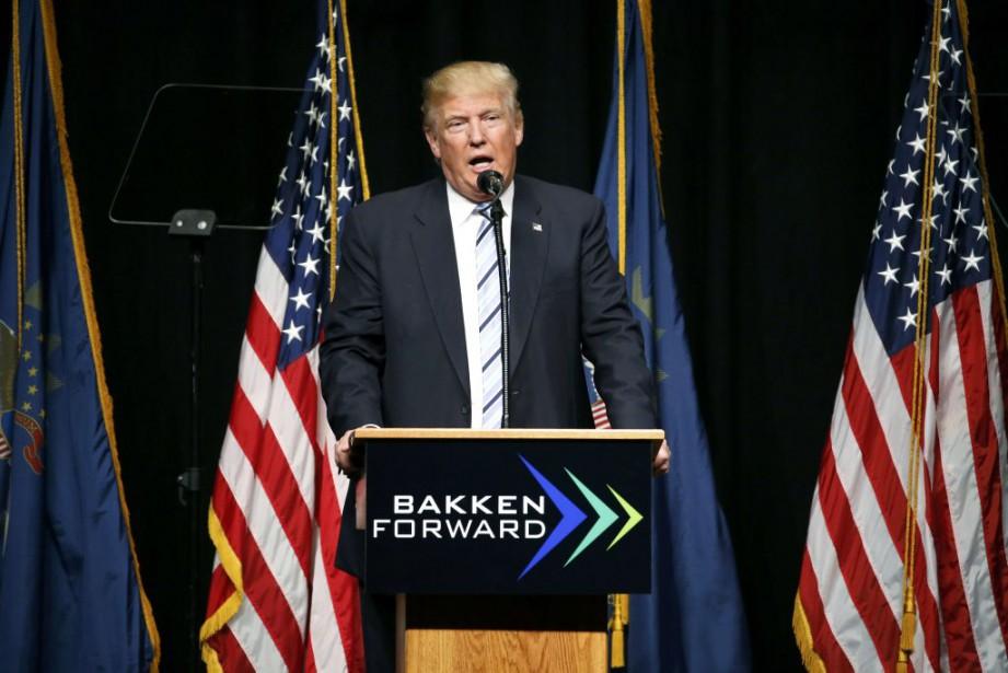 Donald Trump lors d'un rassemblement jeudi àBismarck, dans... (PHOTO JONATHAN ERNST, REUTERS)