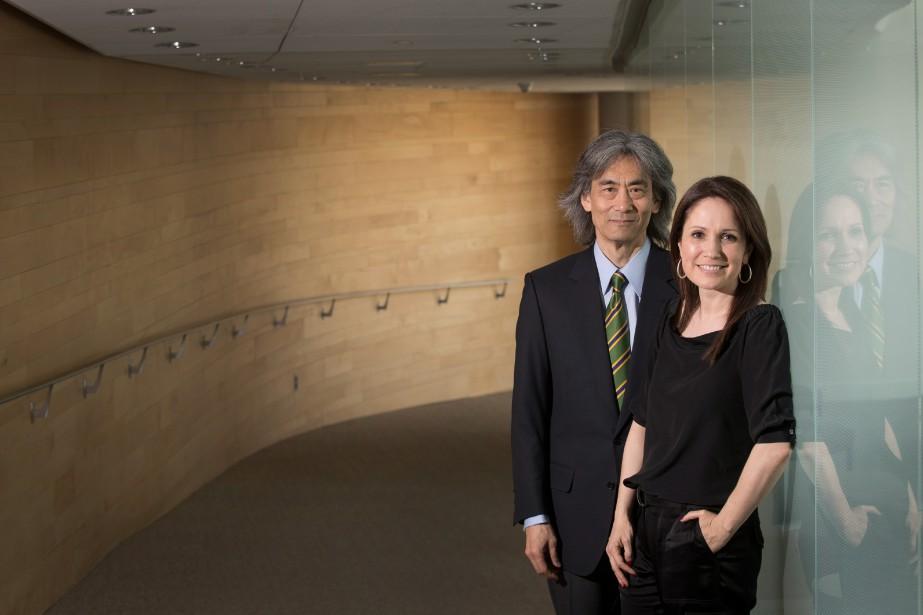 Kent Nagano et l'animatrice France Beaudoin, porte-parole de... (PhotoIVANOH DEMERS, LA PRESSE)