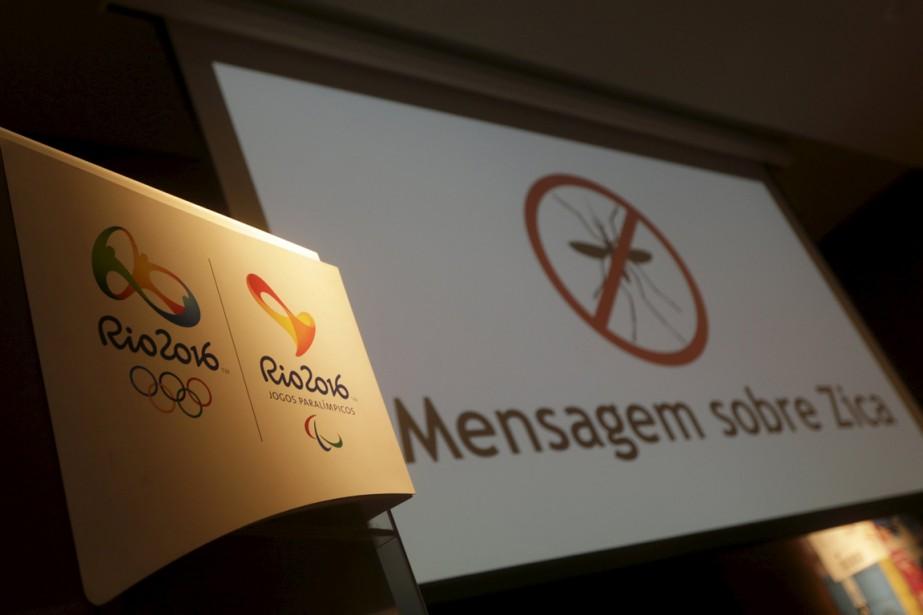 Le logo des Jeux olympiques de Rio apparaît... (PHOTO RICARDO MORAES, ARCHIVES REUTERS)