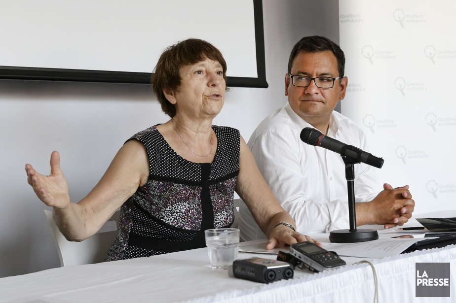 Françoise David et Andres Fontecilla, leprésident de Québec... (PHOTO ROBERT SKINNER, LA PRESSE)