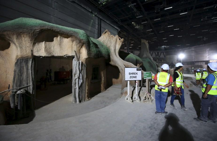 Motiongate Dubai, déjà en activité, recrée trois studios d'Hollywood avec des simulations de films commeShrek. (AFP, Marwan Naamani)