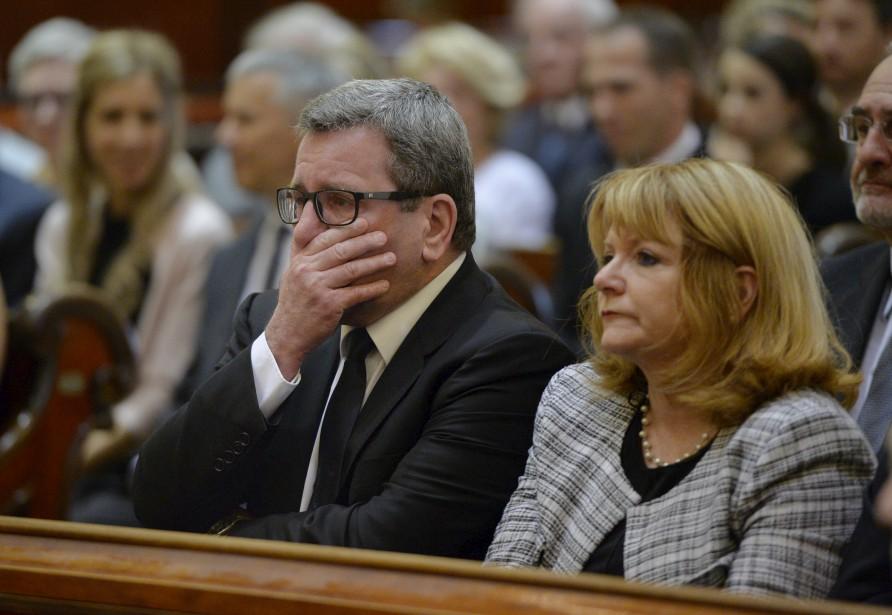 Le maire Régis Labeaume, qui était accompagné de son épouse, était très ému pendant la cérémonie. (Le Soleil, Pascal Ratthé)