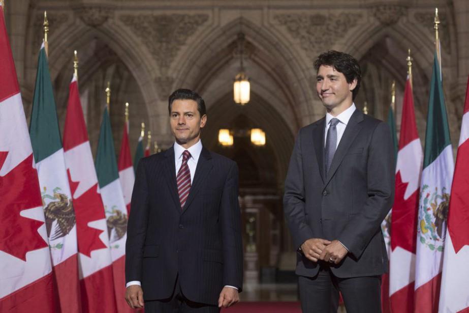 Justin Trudeau s'est exprimé lors d'un point de... (Photo Adrian Wyld, La Presse Canadienne)