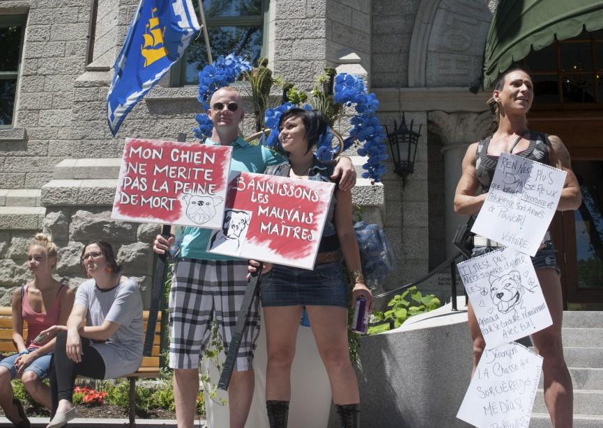 Des manifestants invitant à condamner les mauvais propriétaires plutôt que leurs chiens. (Le Soleil, Alice Chiche)