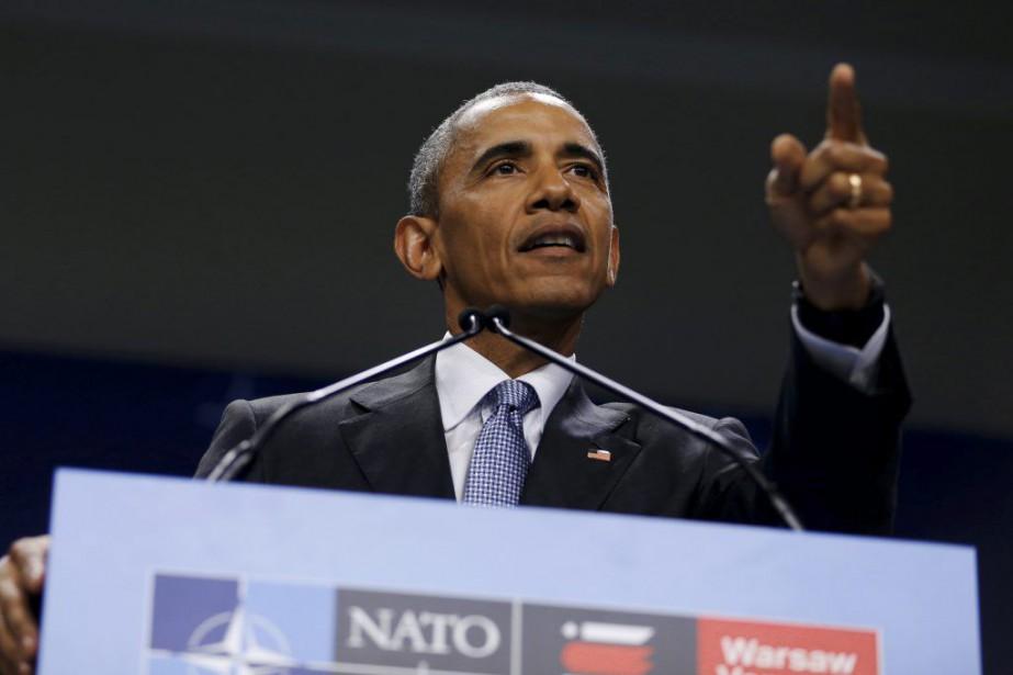 Barack Obama ausommet de l'OTAN à Varsovie, samedi.... (PHOTO JONATHAN ERNST, REUTERS)