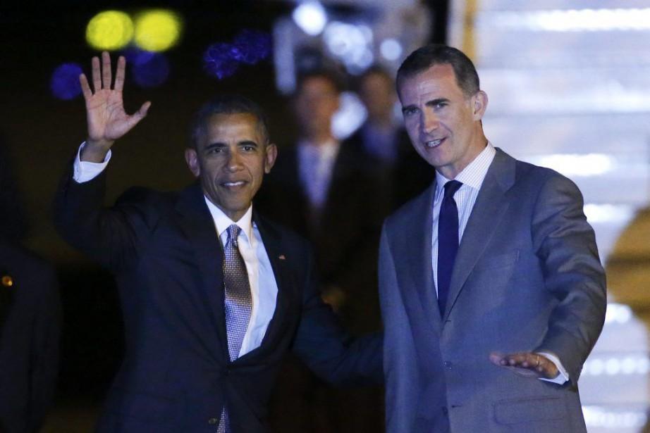 Barack Obama en compagnie du roi d'Espagne Felipe... (Photo Reuters)
