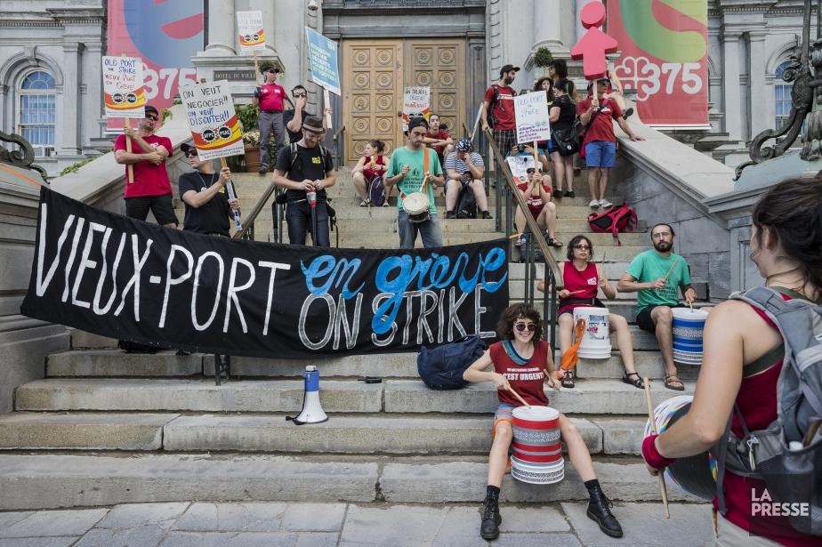 Manifestation des employés du Vieux-Port de Montréal, le... (PHOTO EDOUARD PLANTE-FRÉCHETTE, archives La Presse)