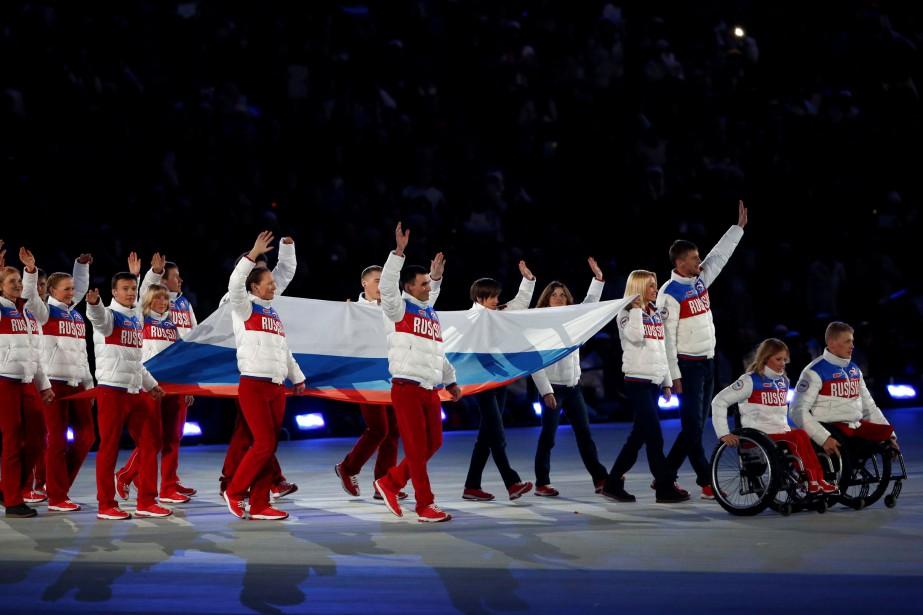 Les athlètes de la Russie lors de la... (Photo Alexander Demianchuk, archives REUTERS)