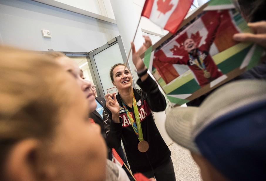 La nageuse Kylie Masse, médaillée de bronze au 100 mètres dos. (Photo Aaron Vincent Elkaim, PC)