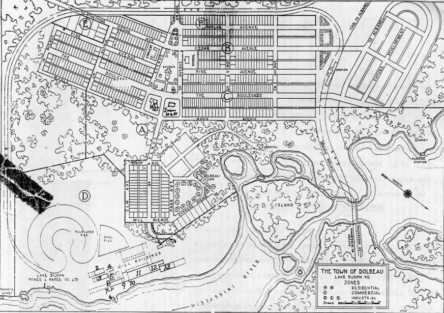 Voici le plan d'urbanisme de l'ingénieur Jules-Armand Beauchemin qui a conçu les plans des maisons, du quartier et des infrastructures. On peut y remarquer les tracés linéaires que M. Wallberg désirait pour sa ville. (Société d'histoire et de généalogie Maria-Chapdelaine)