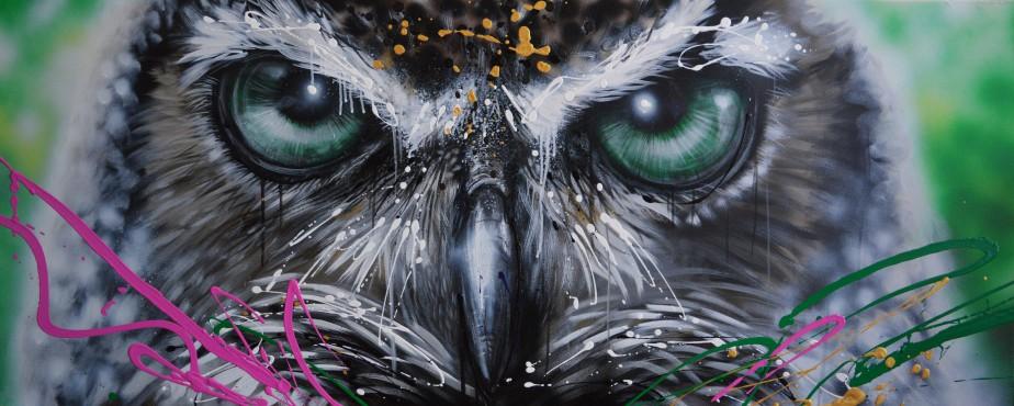 Laurie Marois aime peindre les yeux des hiboux, tout comme ceux des félins. «Dans ces cas-là, je peux multiplier les détails, explorer leur regard perçant», explique l'artiste originaire de Normandin. (Photo courtoisie)