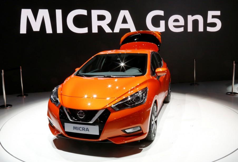 La Micra Gen5 montrée au kiosque de Nissan au Mondial de l'Automobile. (REUTERS)