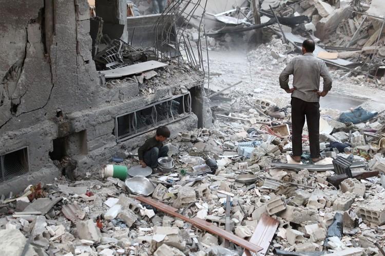 La ville rebelle de Douma a récemment été... (PHOTO AFP)