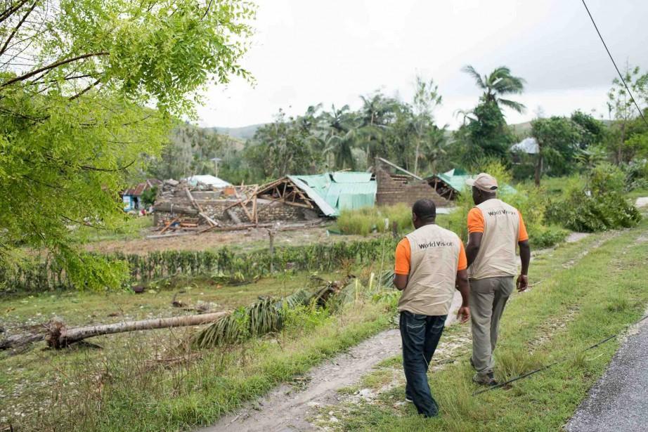 Image de la dévastation dans le sud d'Haïti après le passage de l'ouragan <em>Matthew</em> (Fournie par Vision mondiale)