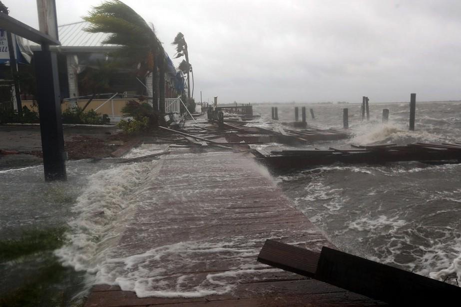 Des vagues s'écrasent sur la plage en Floride,...