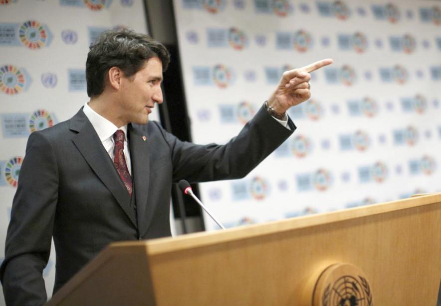Le premier ministre Justin Trudeau lors d'une conférenceen... (PHOTO BRENDAN McDERMID, REUTERS)