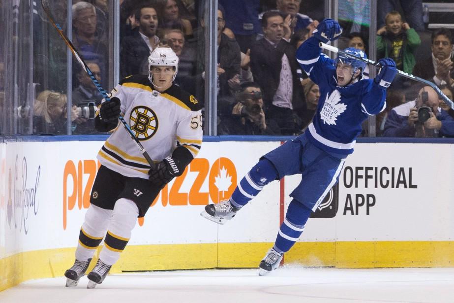 Mitch Marner a trouvé le fond du filet.... (Photo La Presse Canadienne)