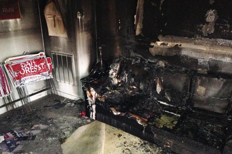 Un engin incendiaire a totalement détruit, sans faire de victimes,... (PHOTO AP)