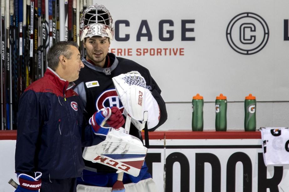Carey Price avec l'entraîneur des gardiens du Canadien,... (Photo Marco Campanozzi, archives La Presse)