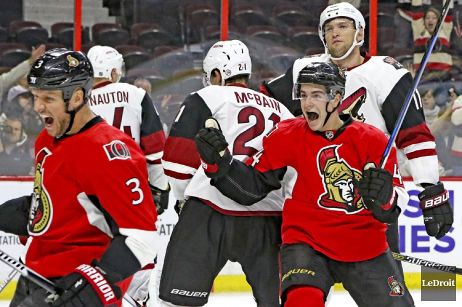 Kyle Turris, Tom Pyatt, Chris Kelly, Mark Stone et Erik... (PHOTO LE DROIT)