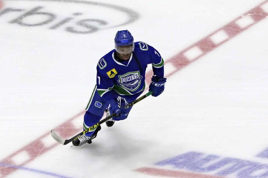 Jordan Subban, petit frère de P.K., porte une fois de plus cette saison l'uniforme des Comets de Utica, le club école des Canucks de Vancouver. (PATRICK WOODBURY, LeDroit)