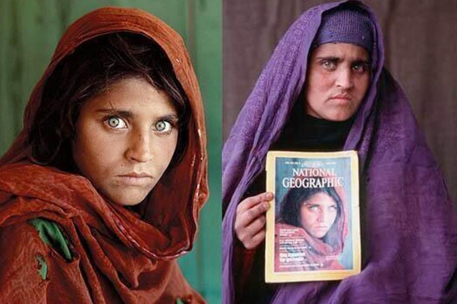La saisissante image de Sharbat Gula (à gauche),... (PHOTOS STEVE MCCURRY, NATIONAL GEOGRAPHIC/TWITTER)