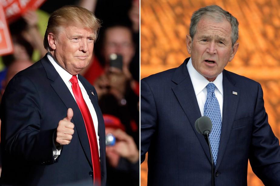 Donald Trump (à gauche) et le 43e président... (photos archives ap/reuters)