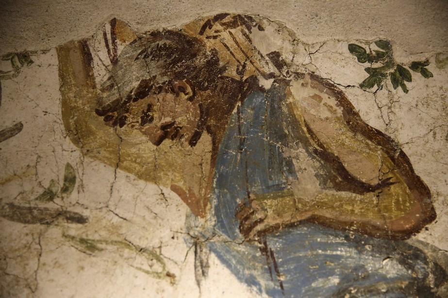 Détail d'une fresque de l'hypogée découvert dans la région de Tyr (AFP, Joseph Eid)