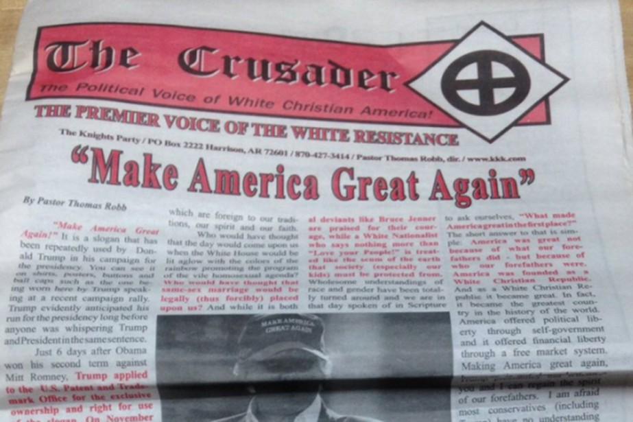 Le Ku Klux Klan s'est servi de son journal officiel pour encenser le candidat...