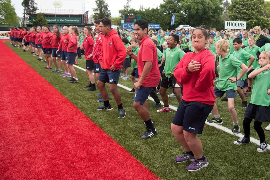 Students perform a mass haka in an attempt...