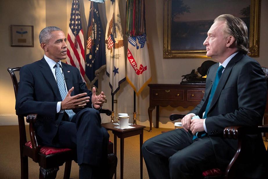 Bill Maher en conversation avec Barack Obama à... (Photo Amanda Lucidon, AP/Fournie par HBO)