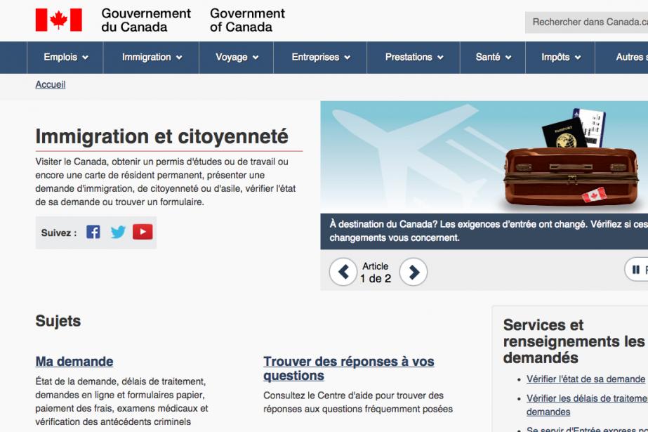 L'accès au site du ministère canadien de l'Immigration a... (CAPTURE D'ÉCRAN)