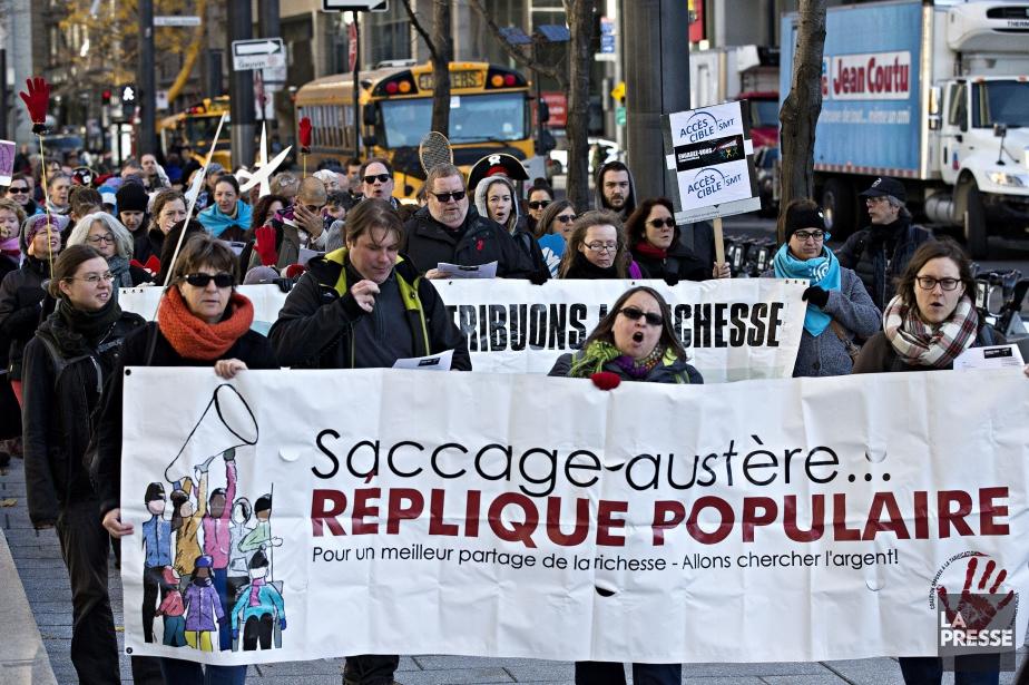 Des groupes ont également manifesté hier à Montréal.... (PHOTO PATRICK SANFAÇON, LA PRESSE)