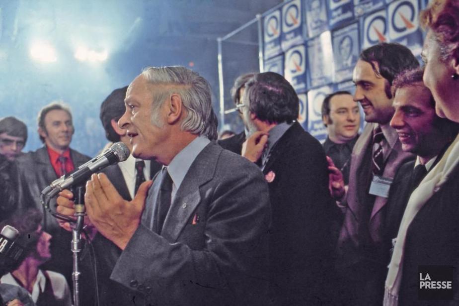 René Lévesque prend la parole à la suite... (Photo Archives La Presse)