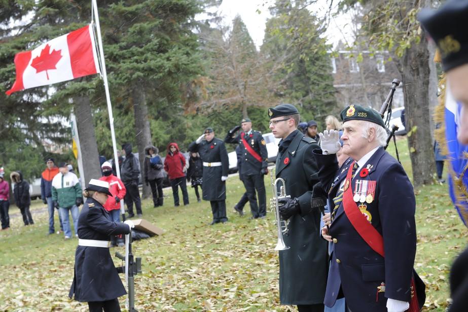 Marcel Gagné Sergent d'arme Légions 235, était aux activités commémoratives. (Photo Le Quotidien, Gimmy Desbiens)