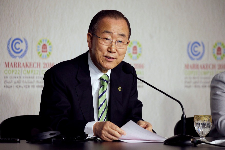 Ban Ki-moon speaks... (PHOTO YOUSSEF BOUDLAL, REUTERS)