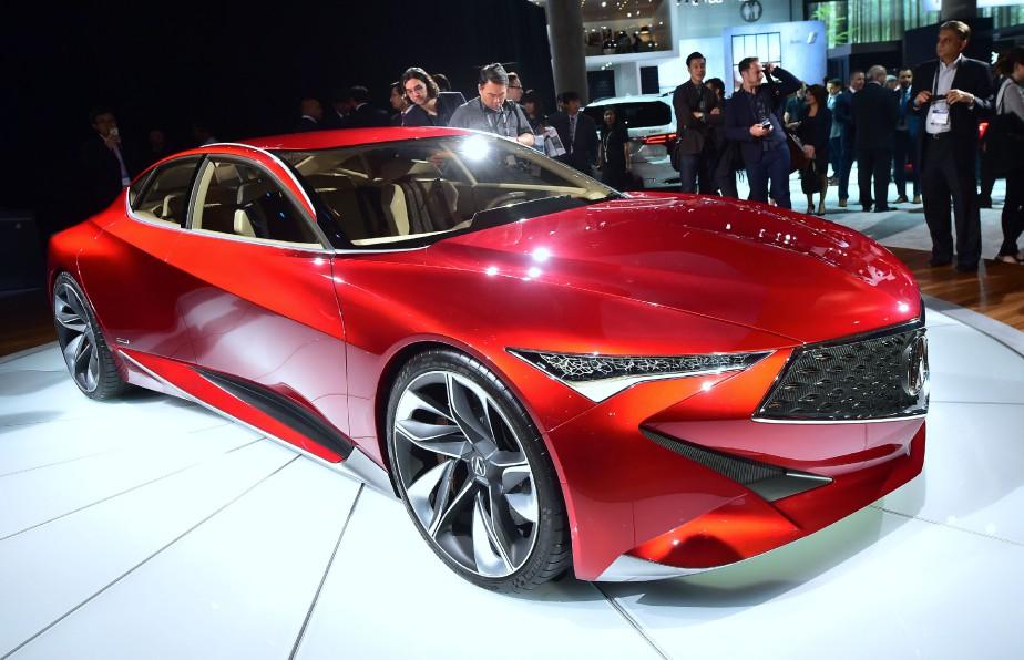 L'Acura NSX 2017 montrée durant l'avant-première média du Salon de l'auto de Los Angeles. (AFP)