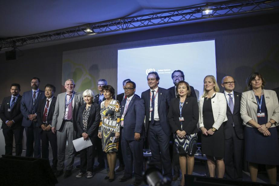 Les ministres de l'Environnement participant à la COP22... (photo Mosa'ab Elshamy, AP)