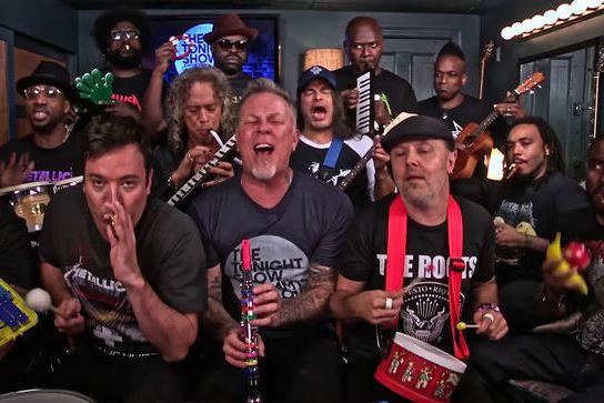 Metallica au The Tonight Show, avec Jimmy Fallon.... (Photo tirée de Youtube)