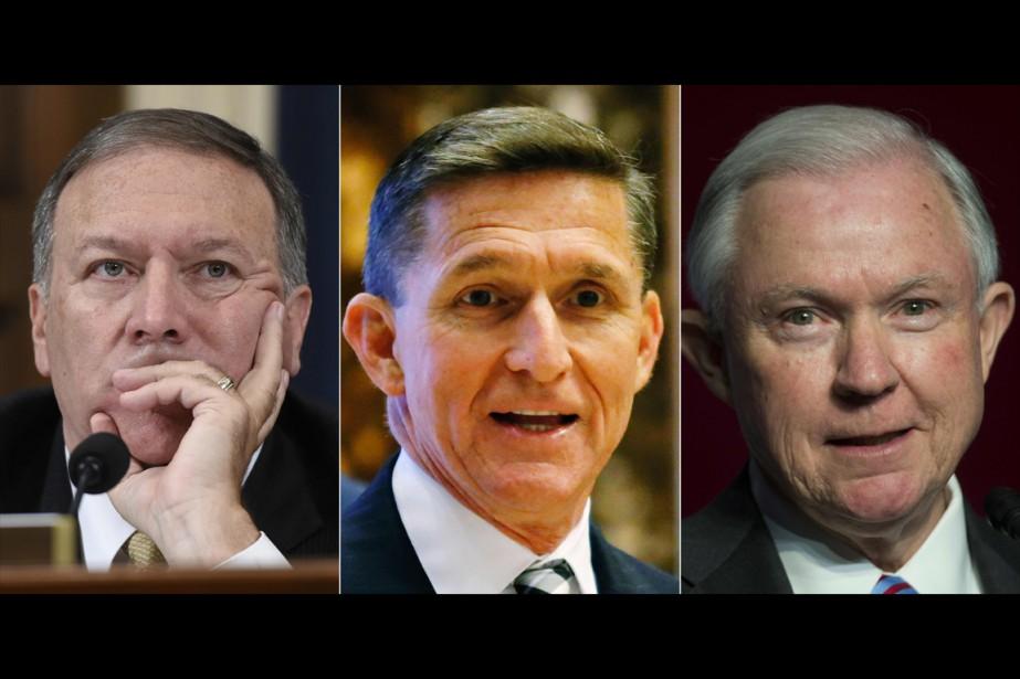 De gauche à droite:Mike Pompeo, Michael Flynn etJeff... (photo AFP)
