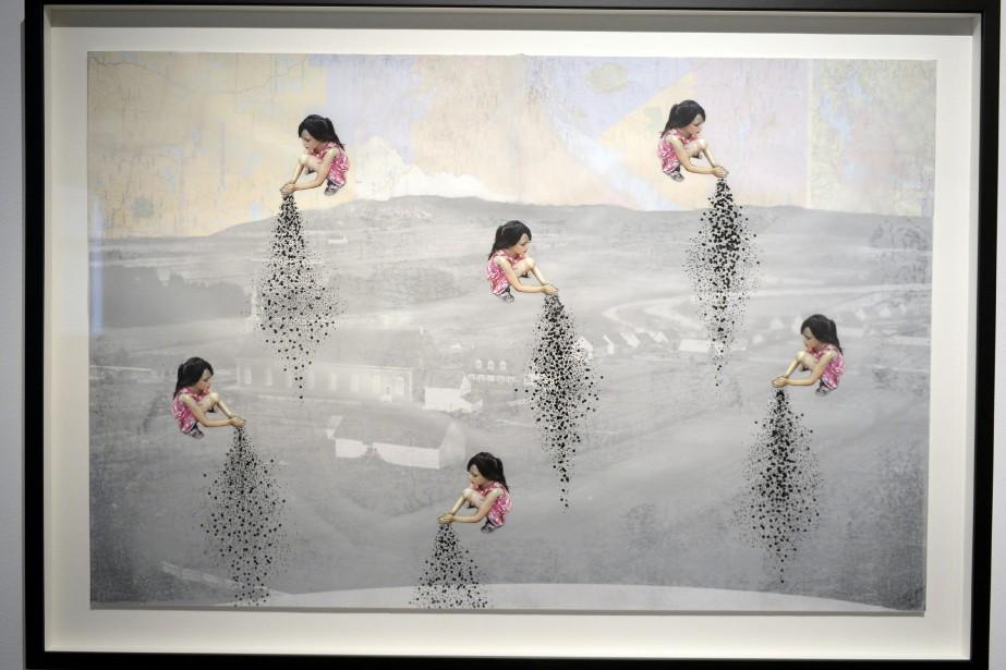<em>Cultiver son âme</em>, réalisée en 2015, est issue d'un mélange d'impression photo, de crayon feutre, de collage et d'une vieille carte. (Photo Le Progrès-Dimanche, Jeannot Lévesque)