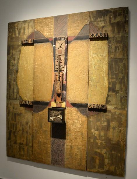 Le titre de cette oeuvre intitulée <em>Dagobert est évocateur</em>. La pièce a été créée en 2002 à l'aide d'huile sur bois et de médiums mixtes. (Photo Le Progrès-Dimanche, Jeannot Lévesque)