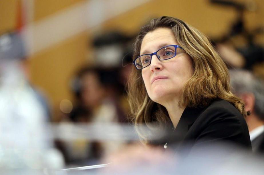 La ministre fédérale du Commerce international,Chrystia Freeland... (PhotoMICHAEL BRADLEY, Archives Agence France-Presse)