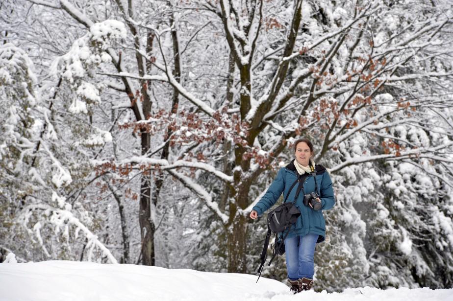 Les arbres parés de leur manteau blanc offraient un tableau magnifique à photographier. (Le Soleil, Pascal Ratthé)