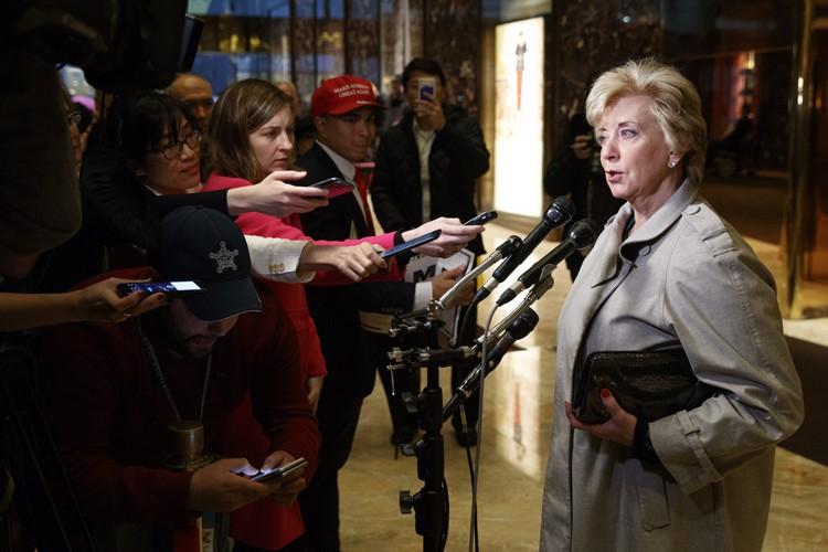 Linda McMahon a tenu un point de presse... (PHOTO AP)